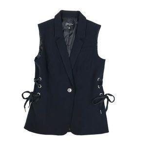 {Eden Court} Lace-Up Side Black Vest Jacket